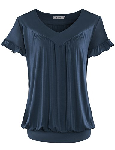 Bepei Women Top V Neck Short Sleeves Front Pleated Tunic Shirts Blouses