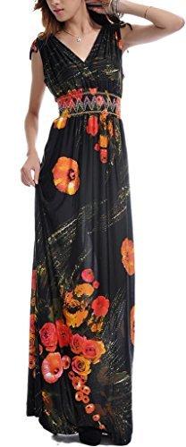 Wantdo Women's Casual Dresses Bohemian Summer Maxi Dress V-neck Dress Plus Size