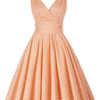 PAUL JONES Women 50S Polka Dot Sundress Deep V-neckline Vintage Dress CL6295