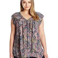 Lucky Brand Women's Plus-Size Multi Paisley Top