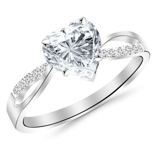 0.99 Carat Elegant Twisting Split Shank Diamond Engagement Ring with a 0.74 Carat Heart Cut G Color VS2 Clarity Center Stone