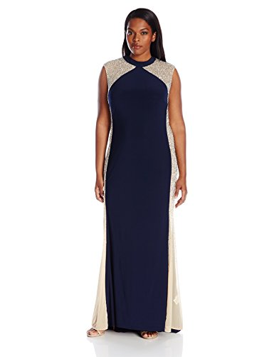 Xscape Women's Plus-Size Long Ity with Caviar Bead Sides