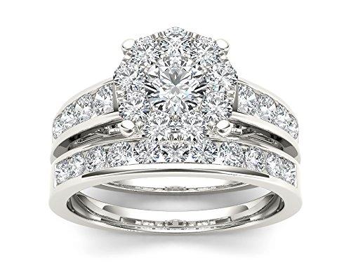 De Couer 10k White Gold 1 1/2ct TDW Diamond Cluster Engagement Ring Set (H-I, I2)