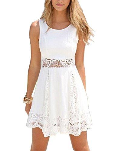 PAKULA® Women's Sexy Sleeveless Lace Patchwork Hollow Out Short Dress
