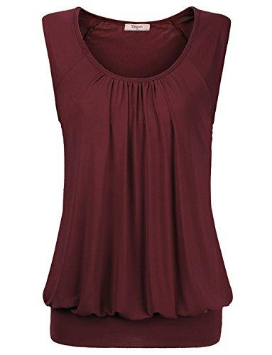 Summer Shirts for Women,Timeson Womens Round Neck Fashion Tunic Vest Tops Medium Wine