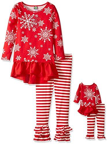 Dollie & Me Girls' Snowflake Dress with Knit Stripe Flare Legging