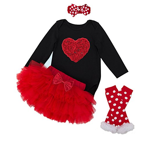 AISHIONY 5PCS Baby Girls' Newborn Tutu Onesie Outfit Princess Party Dress
