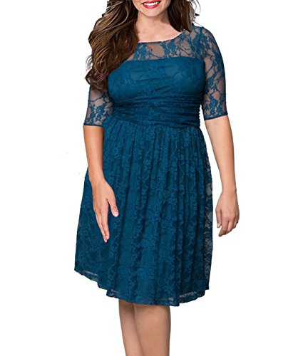 Anfee Women's Plus Size Elegant Party Lace Half Sleeve