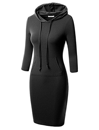 J.TOMSON Women's Bodycon 3/4 Raglan Sleeve Hoodie Dress with Kangaroo Pockets