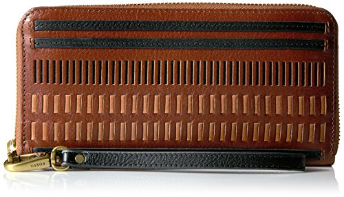 Fossil Emma Rfid Large Zip Wallet-Brown Multi