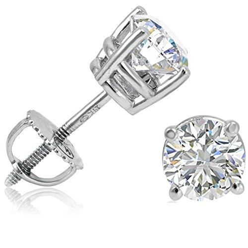 IGI Certified 1 1/2ct TW 14K White Gold Round Diamond Stud Earrings with Screw-Backs