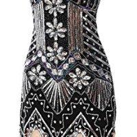 gastbypty Womens 1920's Vintage Gatsby Bead Sequin Deco Flapper Dress