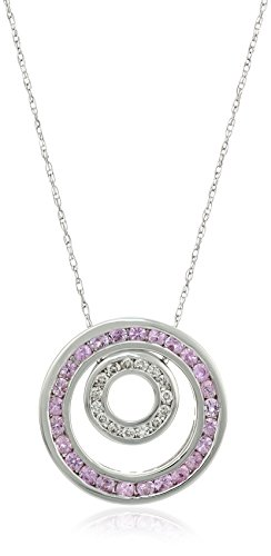 14k White Gold Pink Sapphire and Diamond Round Pendant Necklace (1/10cttw), 18″