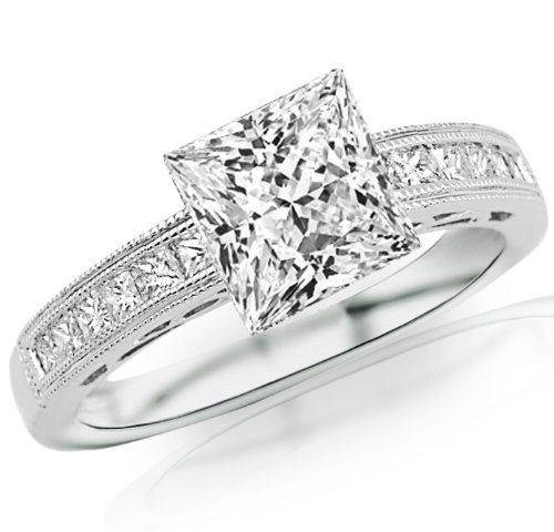 2.38 Carat 14K White Gold Channel Set Princess Cut Diamond Engagement Ring with Milgrain with a 2 Carat Moissanite Center