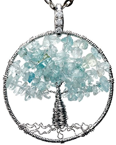 Aquamarine Tree of Life Gemstone Jewelry Best Friend Necklace Silver Pendant Deluxe Gift 18″ 24″ Chain