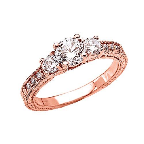 Art Deco Diamond 14k Rose Gold Engagement and Proposal Ring With 1 Carat White Topaz Centerstones