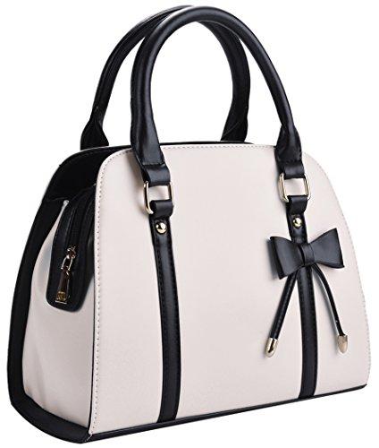 COOFIT Lady Handbag Little Bow Leisure Top-Handle Bags Shoulder Bag Purses and Handbags(Beige)