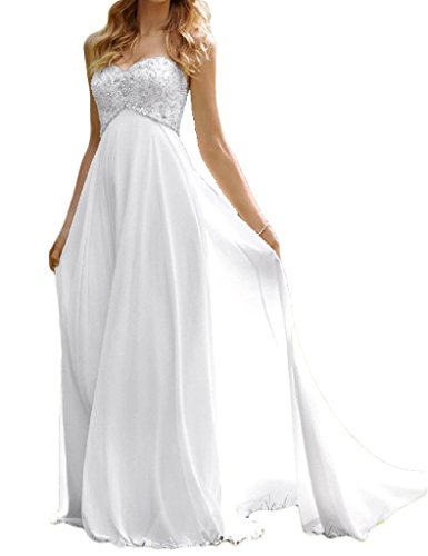 H.S.D Ladies A Line Beads High Waist Maternity Dress Bridal Gown Ivory