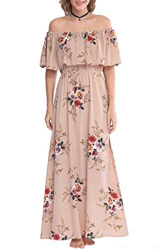 5656183d44 Zattcas Womens Off Shoulder Maxi Dress Summer Boho Long Floral Maxi Dress