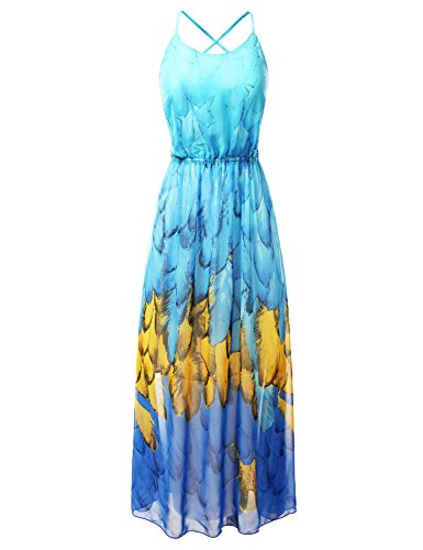 Bohemian Queen Empire Waist Spaghetti Strap Floral Maxi Dress With Sexy Strappy Back