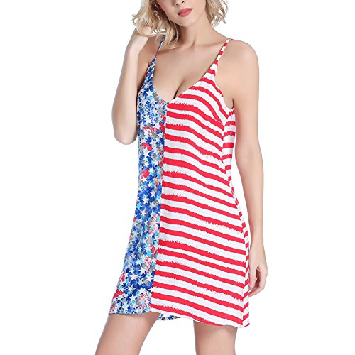JIAJIA Loose V Neck Summer Sleeveless Shirts American Flag Beach Cami Dress
