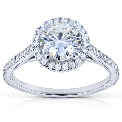 Round-cut Moissanite Engagement Ring with Diamond 1 1/4 CTW 14k White Gold (6.5mm)