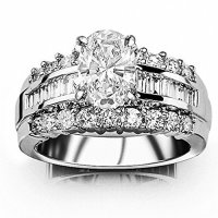 1.85 Ctw 14K White Gold GIA Certified Oval Cut Channel Set Baguette and Round Diamond Engagement Ring, 0.75 Ct D-E VVS1-VVS2 Center