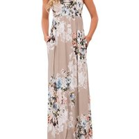 Womens' Floral Maxi Dress,Bestale Vintage Boho Floral Print Casual Sleeveless Racerback Maxi Long Dress with Pocket