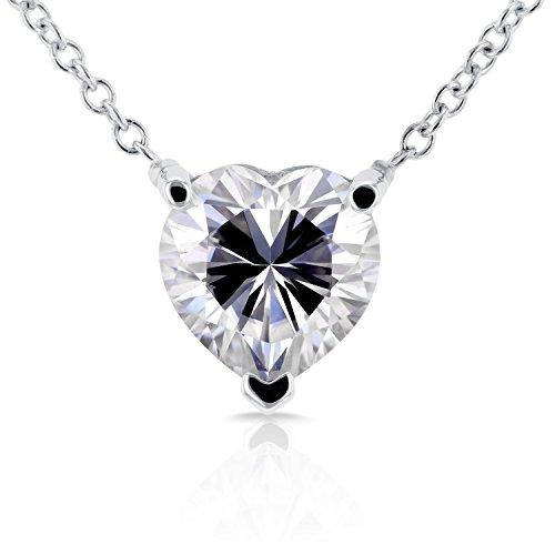 Floating Heart Forever Brilliant Moissanite Necklace 1 CTW in 14K White Gold