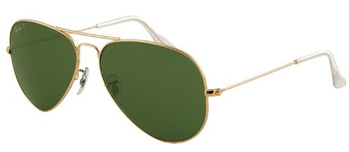 RAY BAN RB 3025 001/58 RAYBAN NATURAL GREEN POLARIZED LENS & ARISTA FRAME SIZE 55-14-135 SUNGLASSES