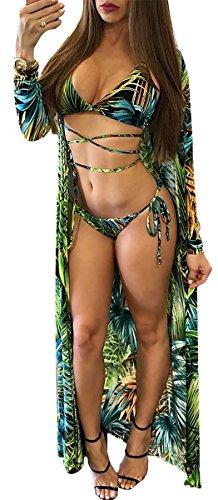Women Sexy 3 Pieces Print Spaghetti Bikini Set Swimwear Long Sleeve Cover Up Beach Set