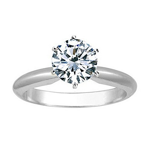 1 1/2 Carat 18K White Gold Round Cut 6 Prong Solitaire Diamond Engagement Ring (1.5 Carat I-J Color I2 Clarity)