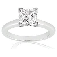 18K White Gold Princess Cut V Prong Solitaire Diamond Engagement Ring (1 Carat I-J Color SI2-I1 Clarity)