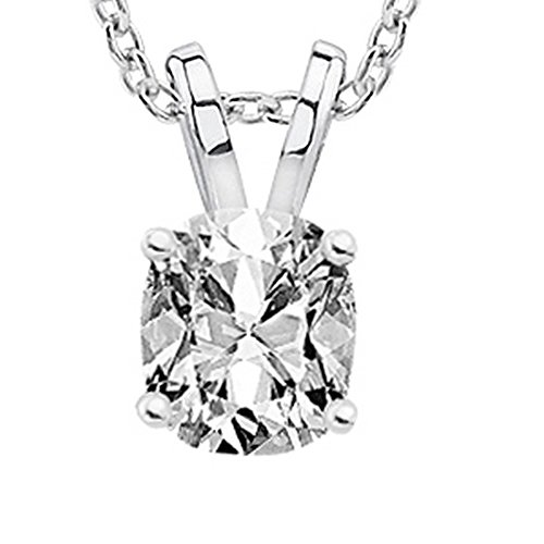 2.01 Carat GIA Certified Cushion Diamond Solitaire Pendant Necklace F Color VS2 Clarity w/ 18″ 14K Gold Chain