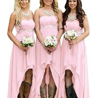 DreHouse Women' Strapless High Low Bridesmaid Dresses Wedding Party Gowns