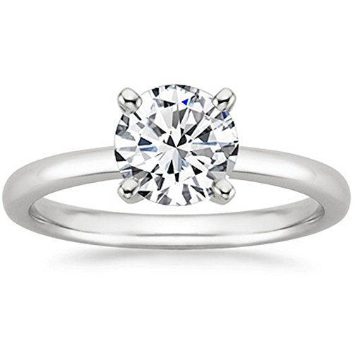 1/2 Carat 14K White Gold Round Cut Solitaire Diamond Engagement Ring (0.5 Carat K-L Color I2 Clarity)