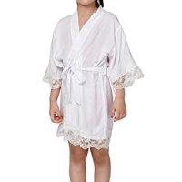 Cotton flower Girl Kimono robe,Bridal party kids lace robe ,Junior bridesmaid robe for wedding gift