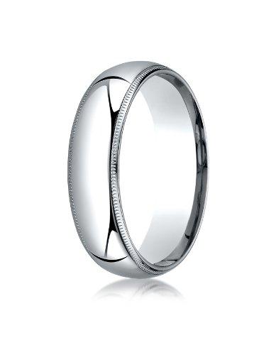 Mens Platinum, 6mm Slim Profile Comfort-Fit Ring with Milgrain