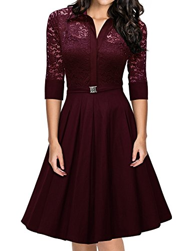 Swiland Women's 3/4 Sleeve Vintage Evening Party Bridesmaid A-line Lace Dress