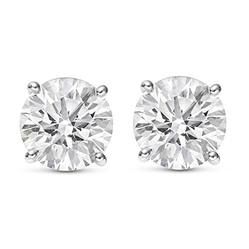 1 Carat Total Weight White Round Diamond Solitaire Stud Earrings Pair set in Plat-950 Platinum 4 Prong Push Back (H-I Color I2 Clarity)