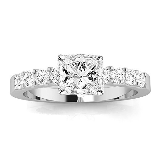 2 Carat GIA Certified Princess Cut Classic Prong Set Diamond Engagement Ring (I-J Color VVS1-VVS2 Clarity Center Stones)