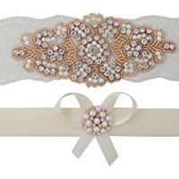 "Rose Gold Garter - Bridal Garter Set (Small (16"" - 17""), Ivory Lace)"