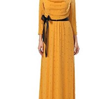 Conail Coco Women's Long Sleeves Piles Collar Glittered Inlaid With Pearls Bridesmaid Dresses Wedding Party Gown Yellow 6054
