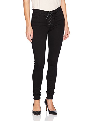 Black Orchid Women's Heidi Lace up High Rise Skinny, Stone Black, 27