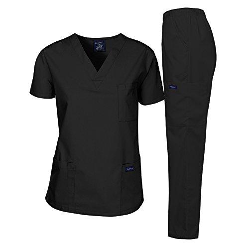 Dagacci Medical Uniform Woman and Man Scrub Set Unisex Medical Scrub Top and Pant, BLACK, M