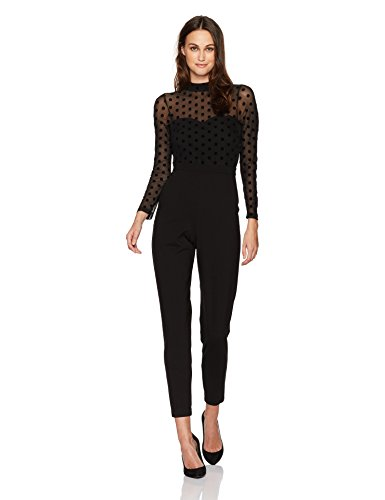 French Connection Women's Leah Mesh Jersey Jumpsuit, Black, 0