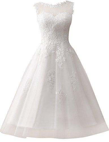 Wedding Dress Lace Bride Dresses Short Wedding Gown Tulle Vintage Bridal Gown Appliques Ivory