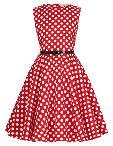 Kate Kasin Vintage Retro Flower Girls Wedding Dresses 6-7yrs,Red and white Dots
