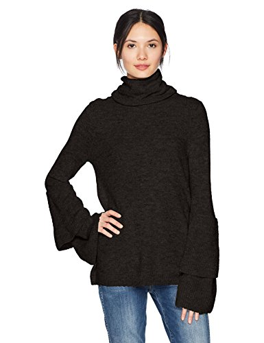 Kensie Women's Warm Touch Cowl Neck Ruffle Tiered Bell Sleeve Sweater, Black, S