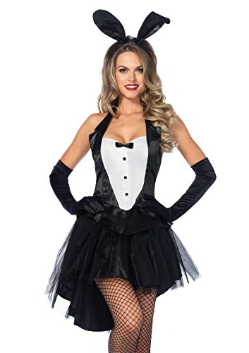 Leg Avenue Women's 3 Piece Tux And Tails Bunny Tuxedo Costume, Black/White, Medium/Large